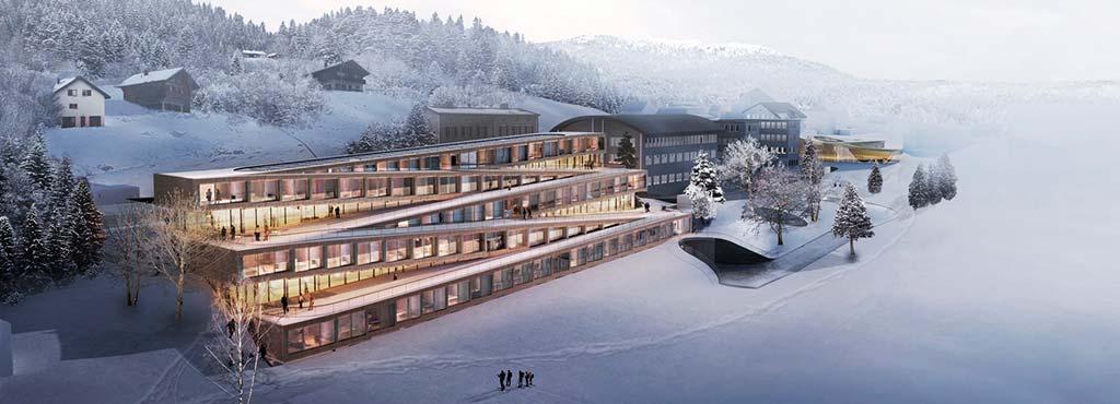 Зигзагообразный отель Audemars Piguet в Швейцарских Альпах