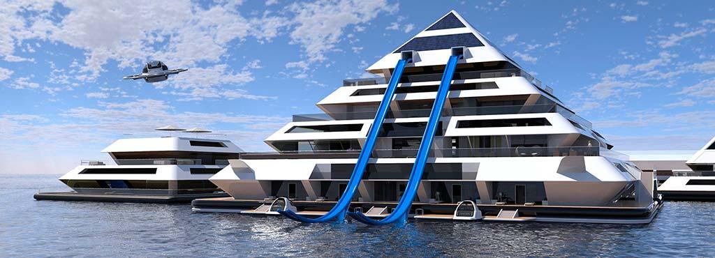 Модульный город на воде Wayland от Lazzarini Design