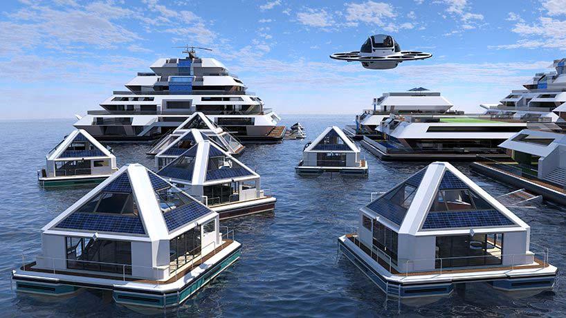 Пирамиды плавающего города на воде Wayland