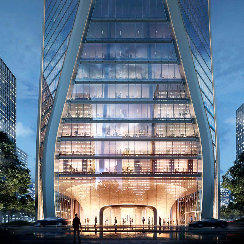 Волнистая башня в Ханчжоу от SOM. Строительство до 2021 года