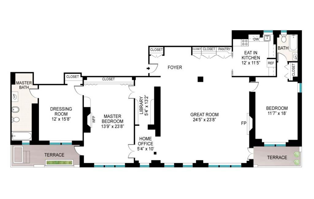 План квартиры с двумя спальнями актрисы Марисы Томей