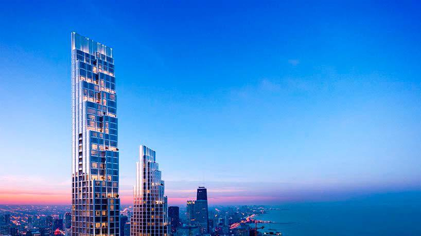 Башни 400 Lake Shore Drive в Чикаго. Высота 335 и 259 метров