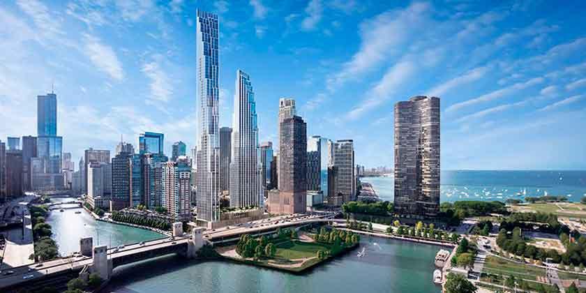 SOM предложил два небоскреба для участка Чикаго-Спайр