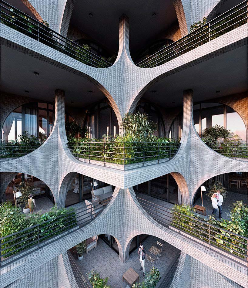Зеленые террасы небоскреба Tel Aviv Arcades