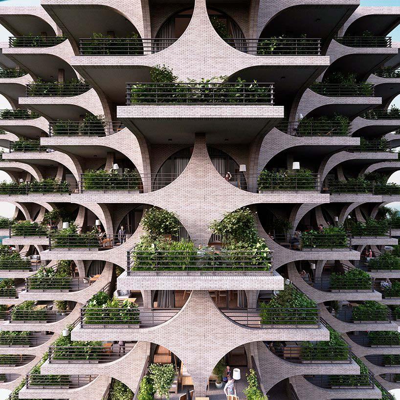 Красивая башня Tel Aviv Arcades. Проект Penda