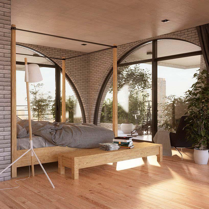 Спальня с выходом на террасу в небоскребе Tel Aviv Arcades