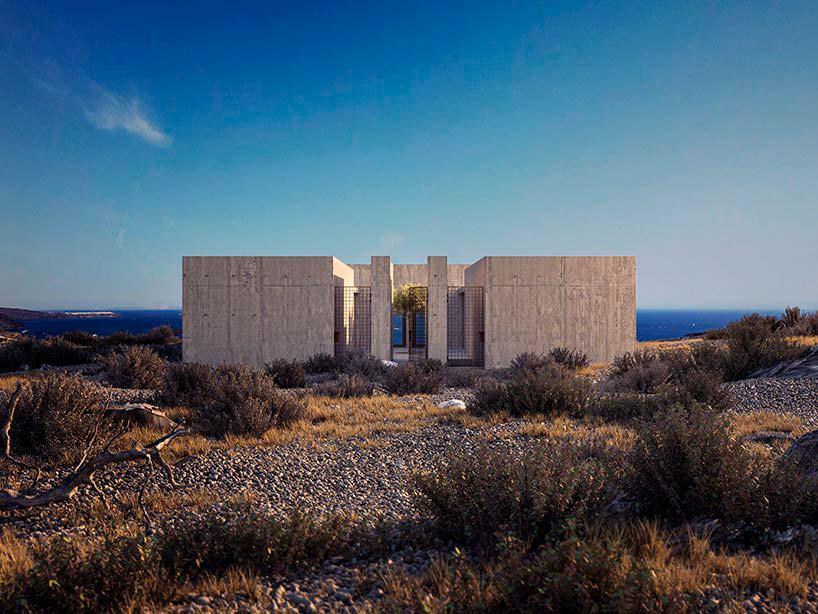 Дом на вулканической скале в Греции. Проект Kapsimalis