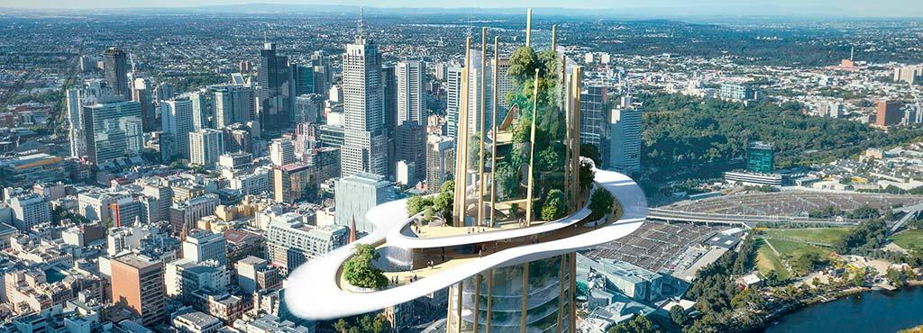 Облако небоскреба с водопадом от MAD Architecture