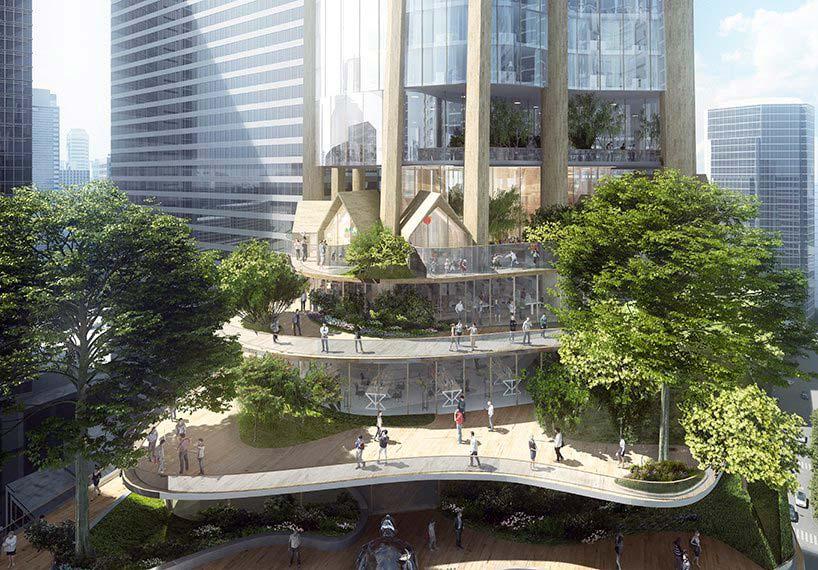 Небоскреб с ландшафтным подиумом в Мельбурне от MAD Architecture