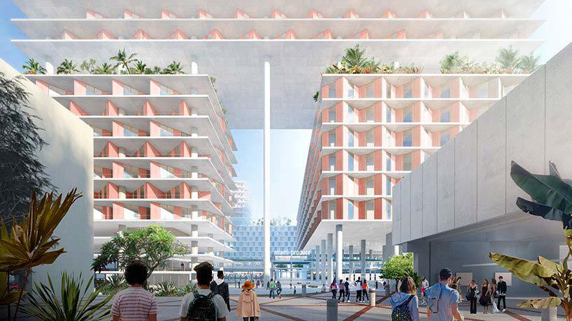 Жилой квартал на сваях в Майами. Проект BIG
