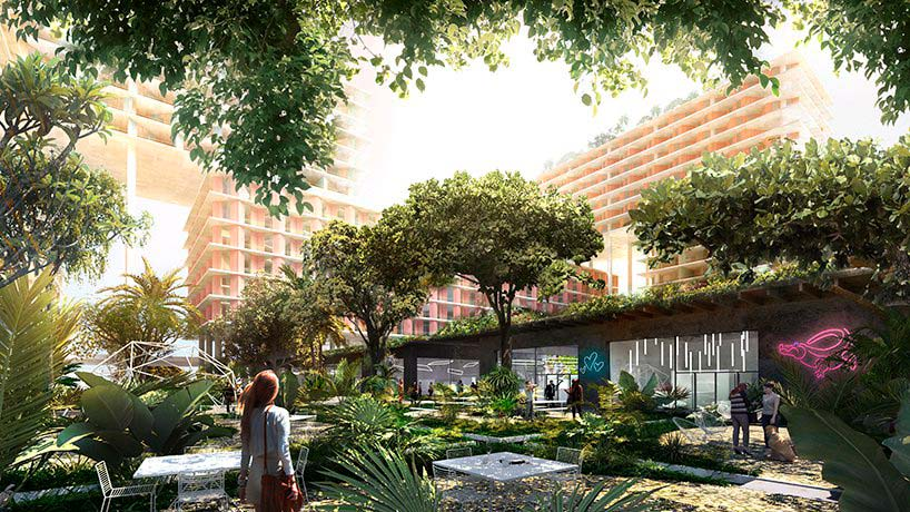 Ландшафтные сады у подножия Miami Produce. Проект BIG
