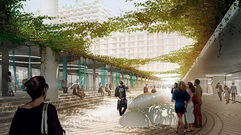 Общественные пространства у подножия Miami Produce. Проект BIG