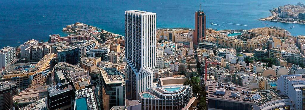 Башня Mercury Tower на берегу Средиземного моря
