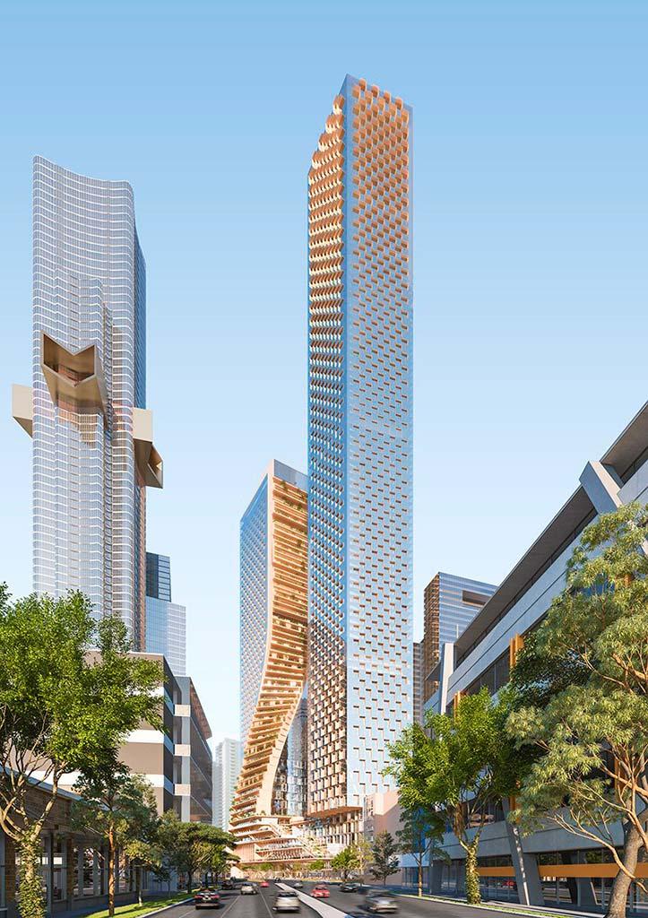 Новые небоскребы в Мельбурне от Southbank by Beulah. Проект UNStudio