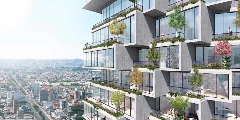 Балконы небоскреба IQON с плантаторами для деревьев от BIG