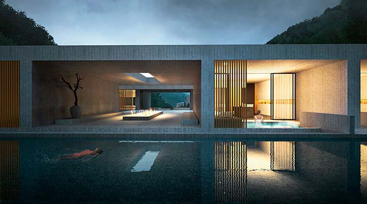 Дизайн виллы с бассейном от студии CLOU