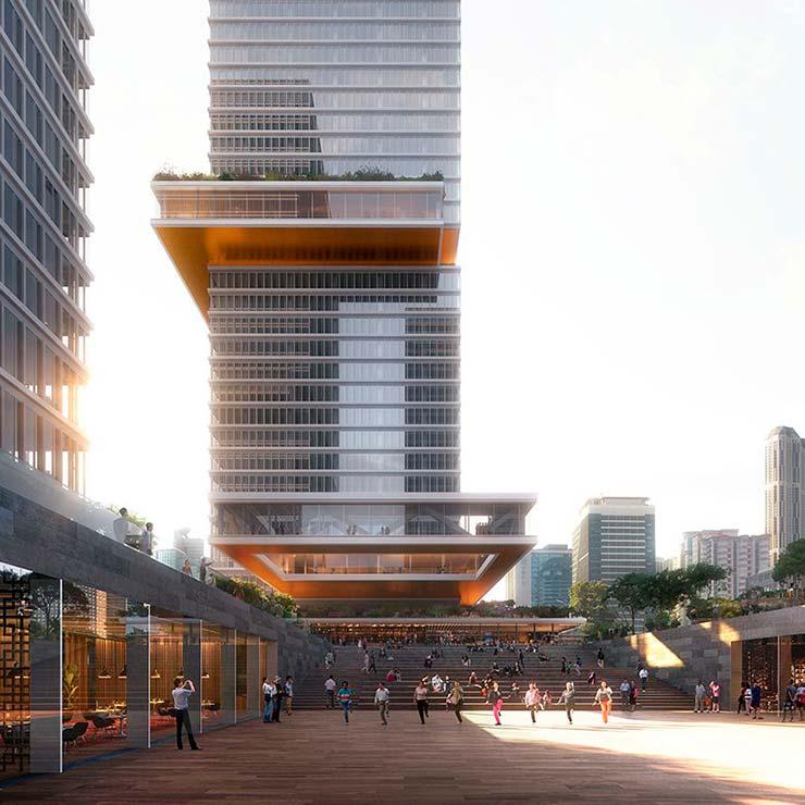 Асимметричные небоскребы Huamu Lot 10 в Шанхае от KPF