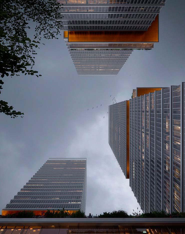 Новые небоскребы Huamu Lot 10 в Шанхае от KPF