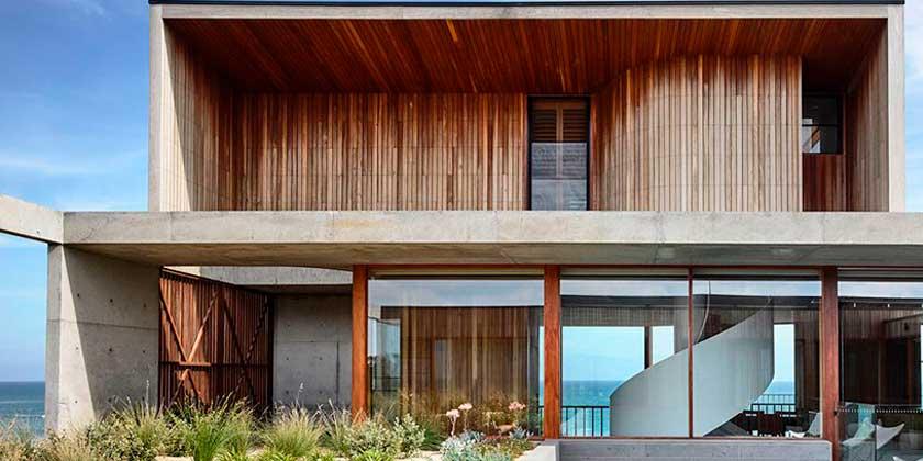 Пляжный дом на скалах в Австралии от Auhaus Architecture   фото