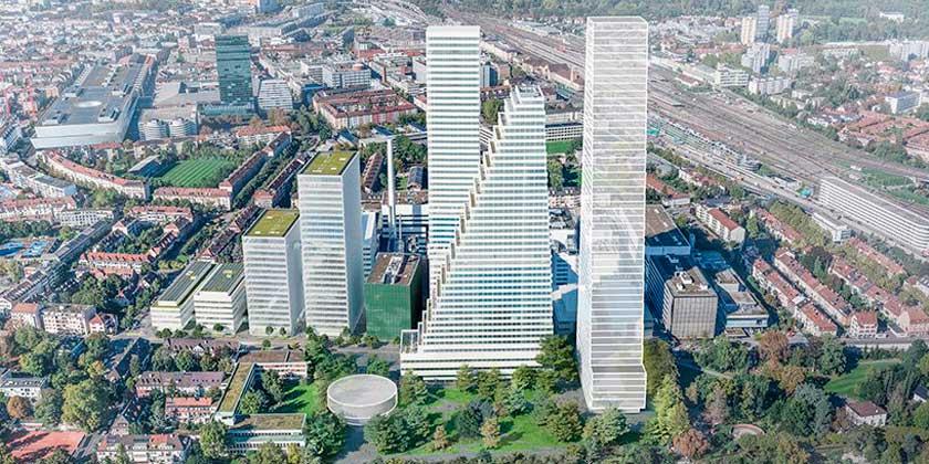 Herzog & de Meuron строит три ступенчатые башни в Базеле | фото