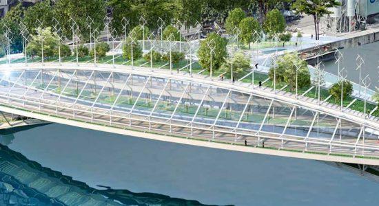 Винсан Каллебо предлагает для Парижа мост с парком и теплицей