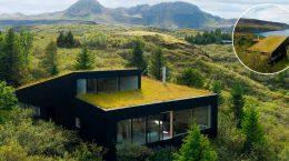 Дом с газоном на крыше спрятался в ландшафте Исландии | фото