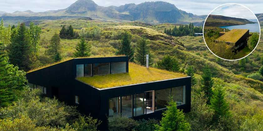 Дом с газоном на крыше спрятался в ландшафте Исландии   фото