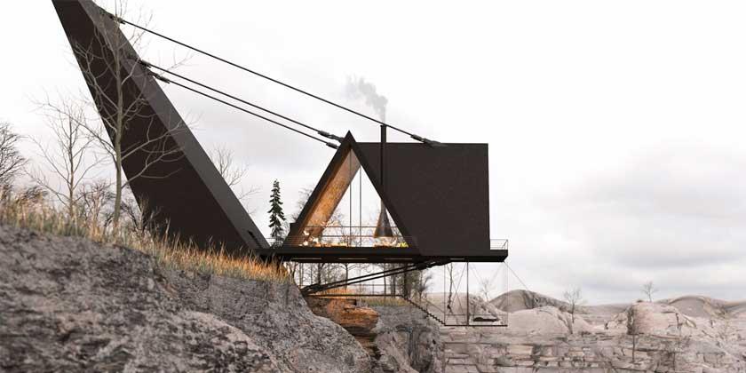 Дом над скалой со стеклянным полом. Проект Милада Эштияги 🏡