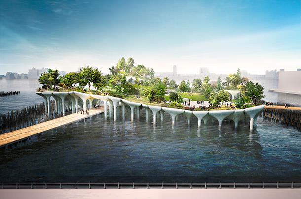 На реке Гудзон в Нью-Йорке построят парк-остров Pier55