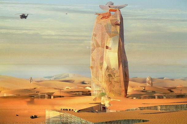 Вертикальный город в Сахаре от OXO Architectes и Nicolas Laisné Associés