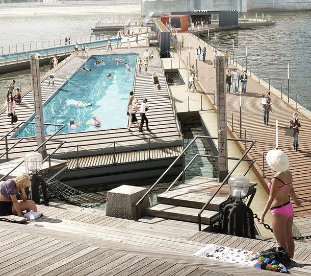 Проект плавающего бассейна на Москве-реке от 100architects