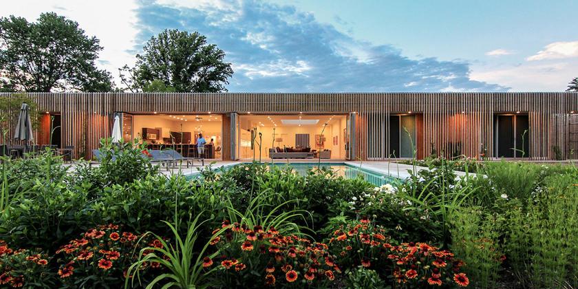 Дом с террасой и бассейном. Проект Office Mian Ye | фото