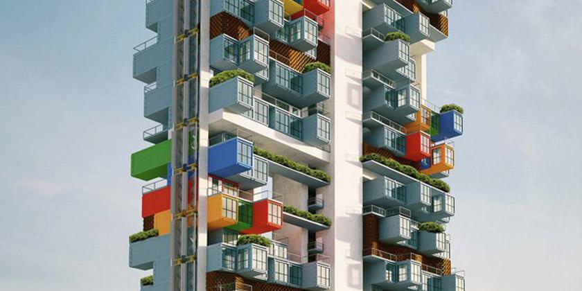 Концепт модульного небоскреба из контейнеров от Ganti Asociates