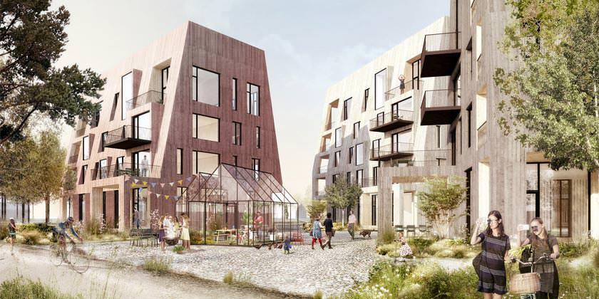 Деревянный квартал в шведском городе Эребру от C.F. Møller
