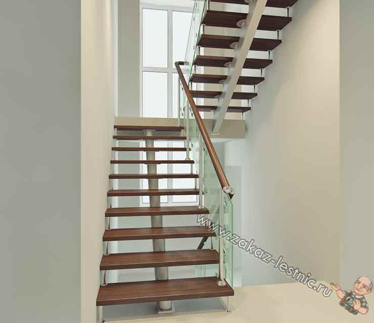 Двухмаршевая лестница для дома