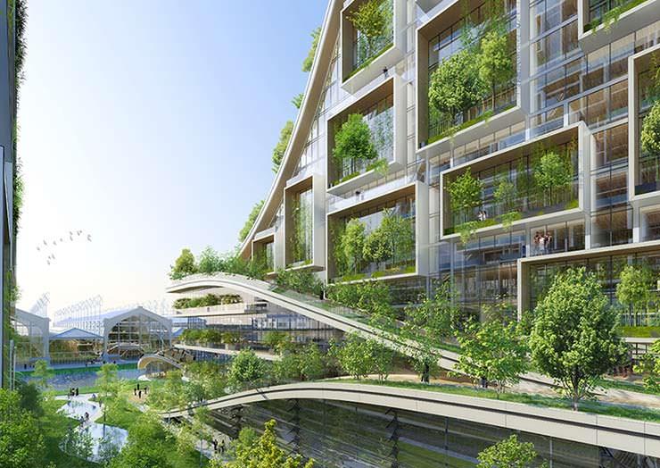 Эко-жилые дома у озера от Винсента Каллебо в центре Брюсселя
