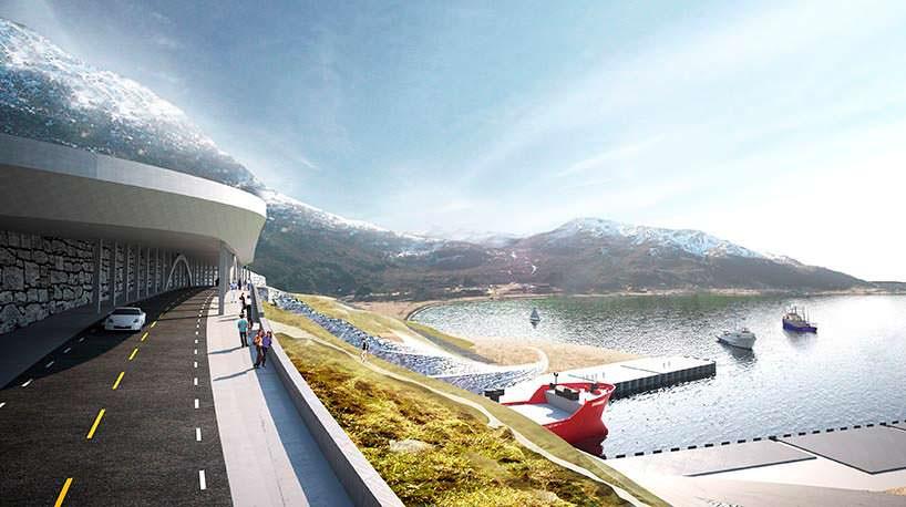 Фото   Мост над тоннелем для кораблей в Норвегии