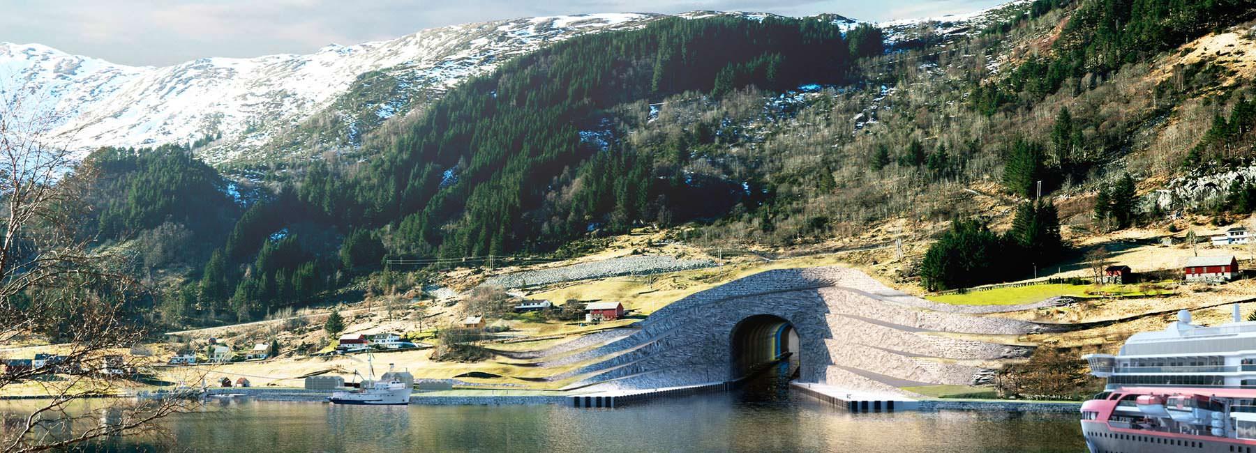 Фото   Первый в мире судоходный тоннель. Проект Snøhetta