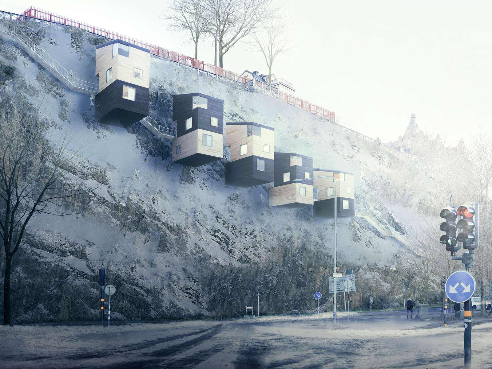 Трёхэтажные модульные дома-скворечники на скале Nestinbox