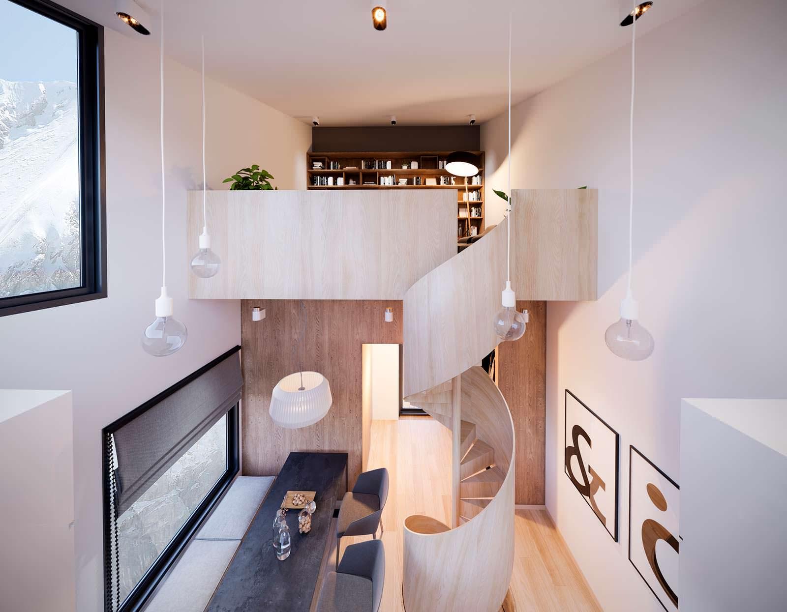 Интерьер дома на отвесной скале Nestinbox. Дизайн Manofactory