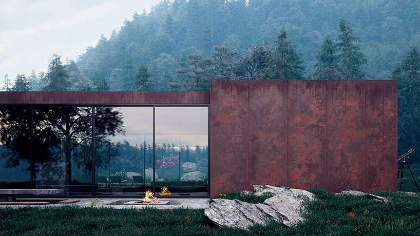 Фасад дома со стороны бассейна с панорамными окнами