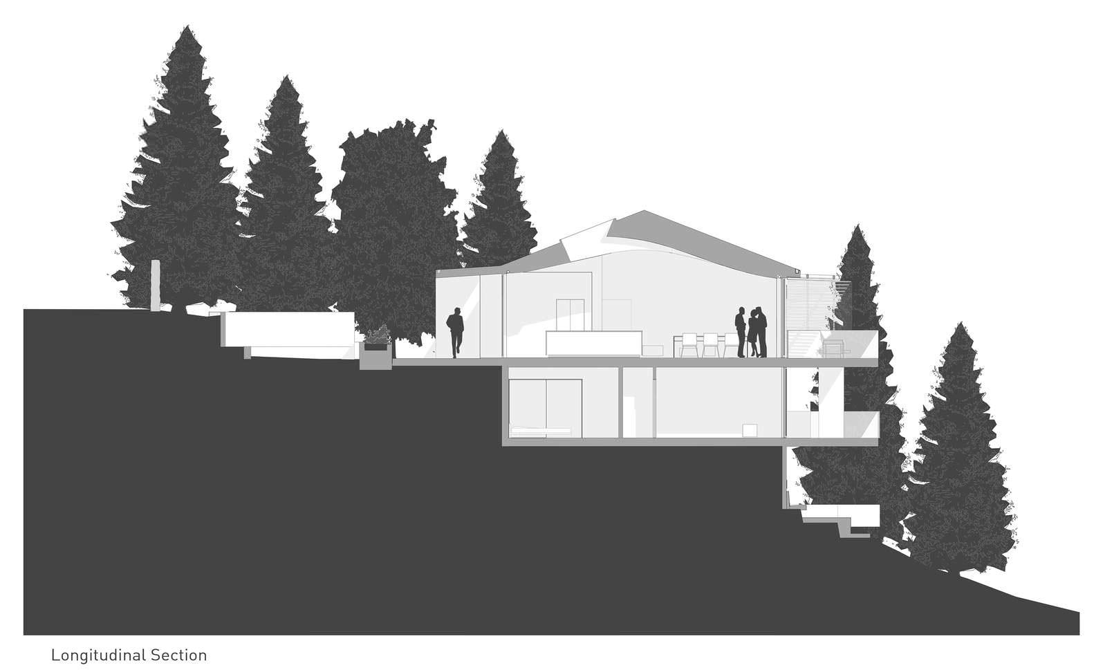 Схема двухэтажного панорамного дома в Калифорнии