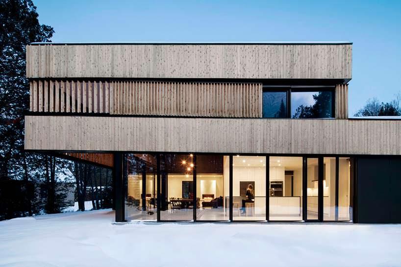 Красивый современный дом на берегу озера в Канаде