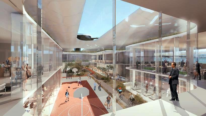 Баскетбольная площадка посреди кампуса Faraday Future