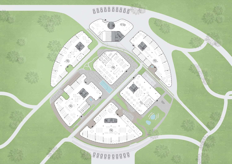 План уровня 0 кампуса Faraday Future от MAD Architecture