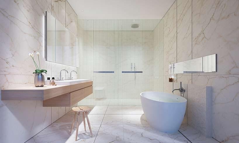 Дизайн ванной комнаты в квартире небоскреба 565 Broome Soho