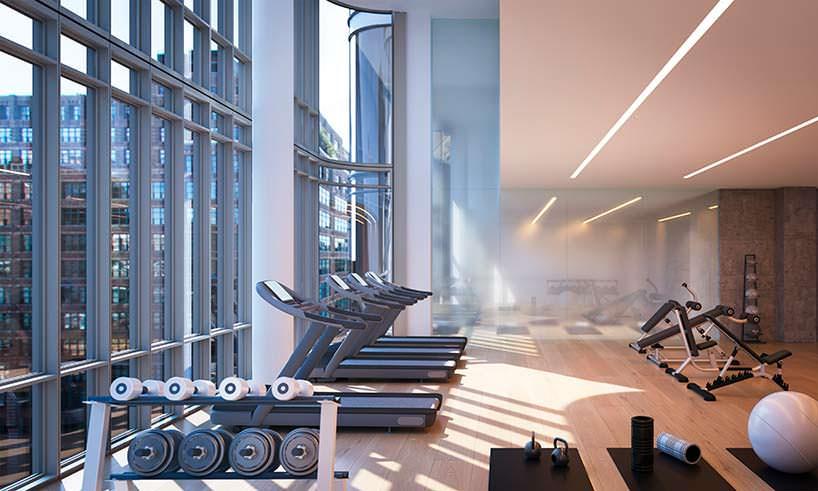 Спортзал для владельцев квартир в башне 565 Broome Soho