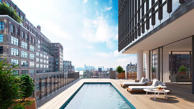 Панорамный бассейн для жильцов башни 565 Broome Soho