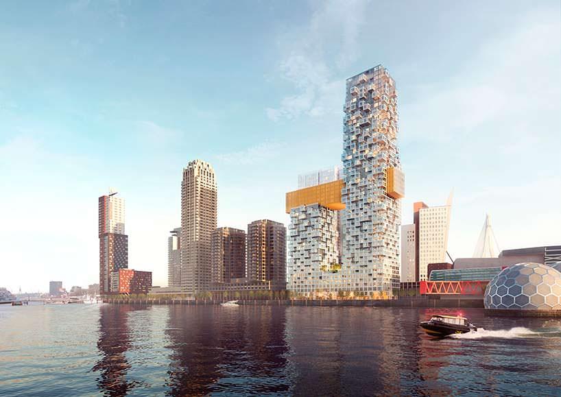 Башни, соединенные мостом в Роттердаме. Проект MVRDV