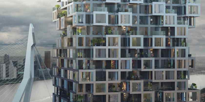 MVRDV построит башни, соединенные мостом в Роттердаме